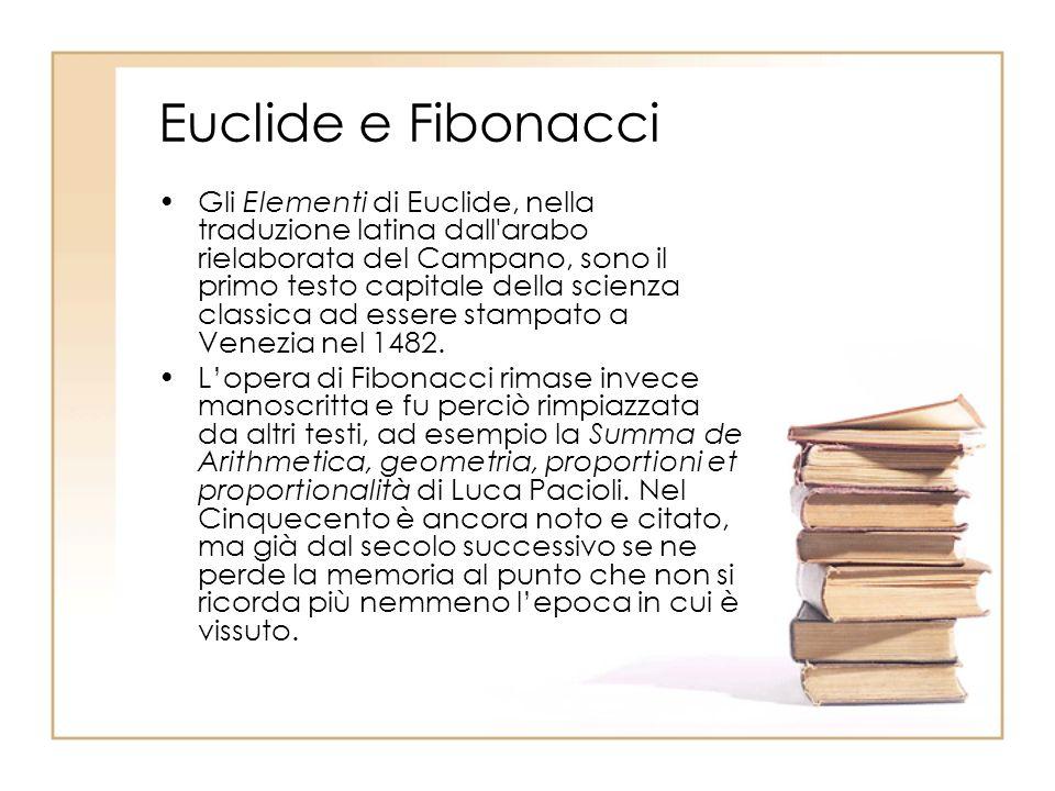 Euclide e Fibonacci Gli Elementi di Euclide, nella traduzione latina dall'arabo rielaborata del Campano, sono il primo testo capitale della scienza cl
