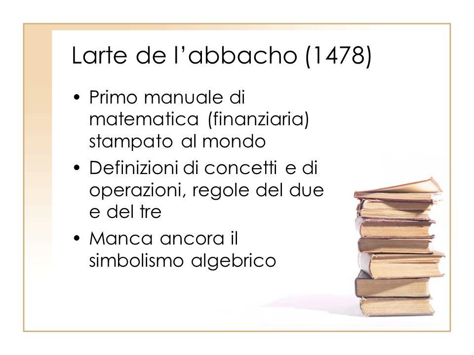 Larte de labbacho (1478) Primo manuale di matematica (finanziaria) stampato al mondo Definizioni di concetti e di operazioni, regole del due e del tre