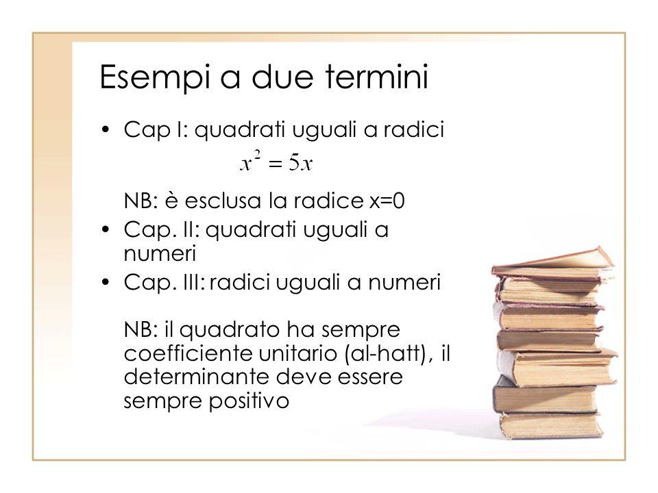 Esempi a due termini Cap I: quadrati uguali a radici NB: è esclusa la radice x=0 Cap. II: quadrati uguali a numeri Cap. III: radici uguali a numeri NB