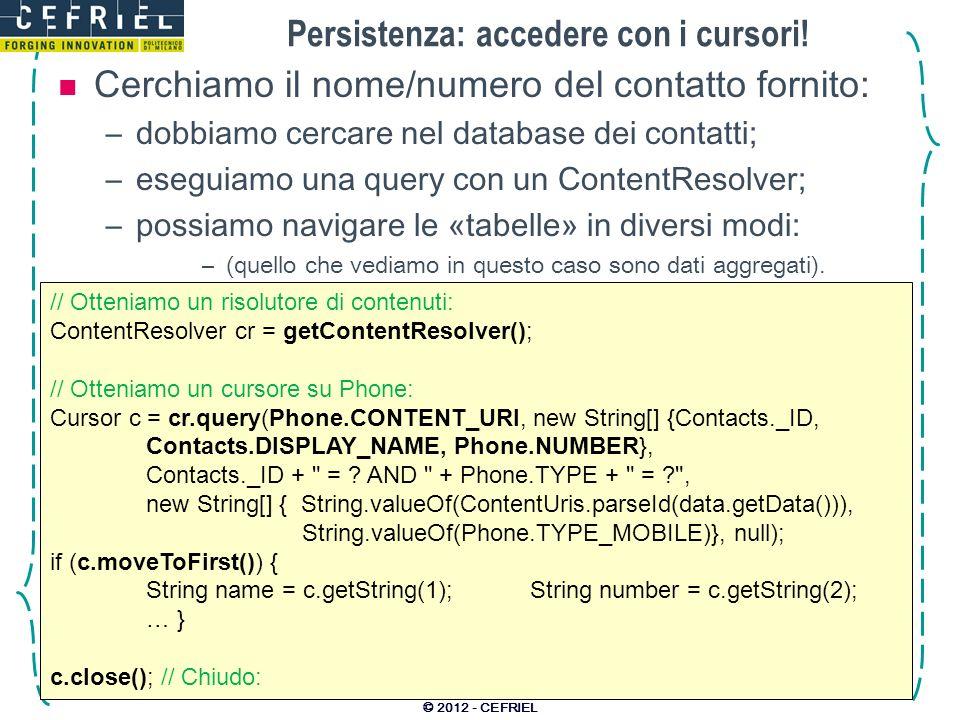 Persistenza: accedere con i cursori.
