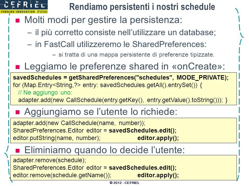 Rendiamo persistenti i nostri schedule Molti modi per gestire la persistenza: –il più corretto consiste nellutilizzare un database; –in FastCall utilizzeremo le SharedPreferences: –si tratta di una mappa persistente di preferenze tipizzate.