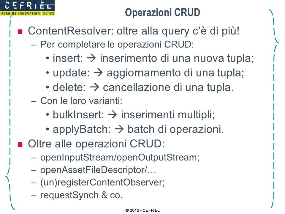 Operazioni CRUD ContentResolver: oltre alla query cè di più.
