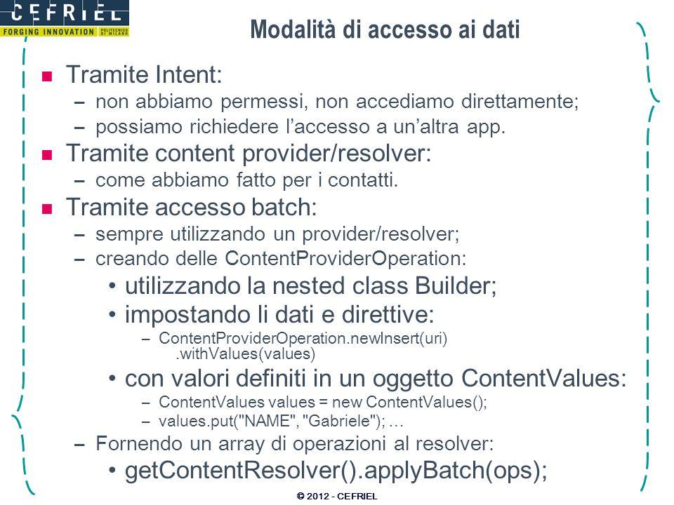 Modalità di accesso ai dati Tramite Intent: –non abbiamo permessi, non accediamo direttamente; –possiamo richiedere laccesso a unaltra app.