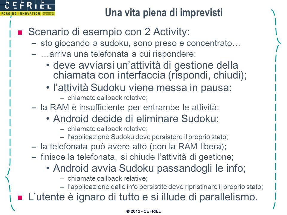 Una vita piena di imprevisti Scenario di esempio con 2 Activity: –sto giocando a sudoku, sono preso e concentrato… –…arriva una telefonata a cui rispondere: deve avviarsi unattività di gestione della chiamata con interfaccia (rispondi, chiudi); lattività Sudoku viene messa in pausa: –chiamate callback relative; –la RAM è insufficiente per entrambe le attività: Android decide di eliminare Sudoku: –chiamate callback relative; –lapplicazione Sudoku deve persistere il proprio stato; –la telefonata può avere atto (con la RAM libera); –finisce la telefonata, si chiude lattività di gestione; Android avvia Sudoku passandogli le info; –chiamate callback relative; –lapplicazione dalle info persistite deve ripristinare il proprio stato; Lutente è ignaro di tutto e si illude di parallelismo.