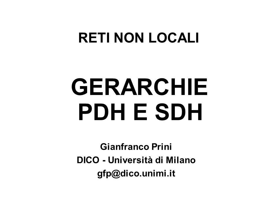 RETI NON LOCALI GERARCHIE PDH E SDH Gianfranco Prini DICO - Università di Milano gfp@dico.unimi.it