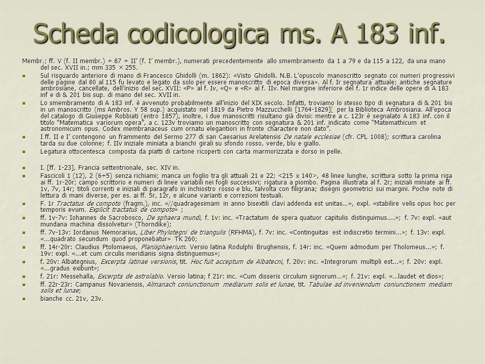 Scheda codicologica ms. A 183 inf. Membr.; ff. V (f. II membr.) + 87 + II (f. I membr.), numerati precedentemente allo smembramento da 1 a 79 e da 115