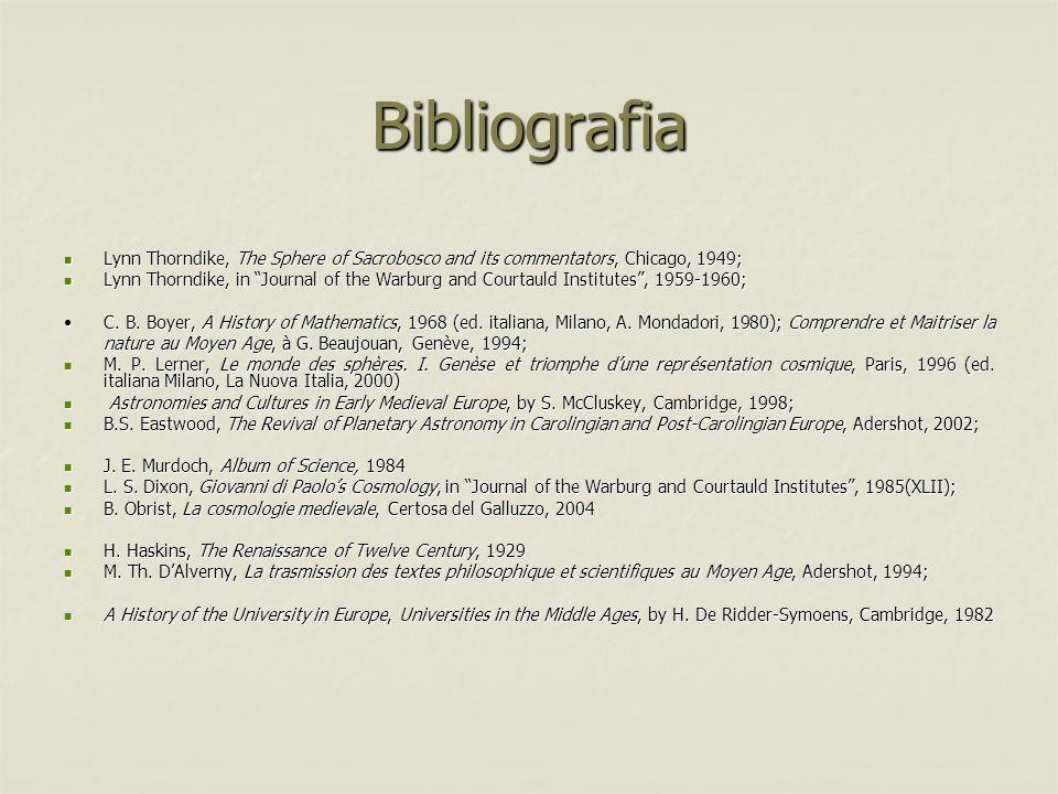 Bibliografia Lynn Thorndike, The Sphere of Sacrobosco and its commentators, Chicago, 1949; Lynn Thorndike, The Sphere of Sacrobosco and its commentato