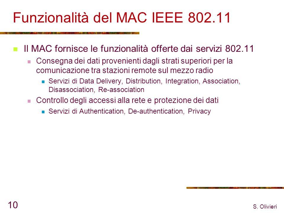 S. Olivieri 10 Funzionalità del MAC IEEE 802.11 Il MAC fornisce le funzionalità offerte dai servizi 802.11 Consegna dei dati provenienti dagli strati