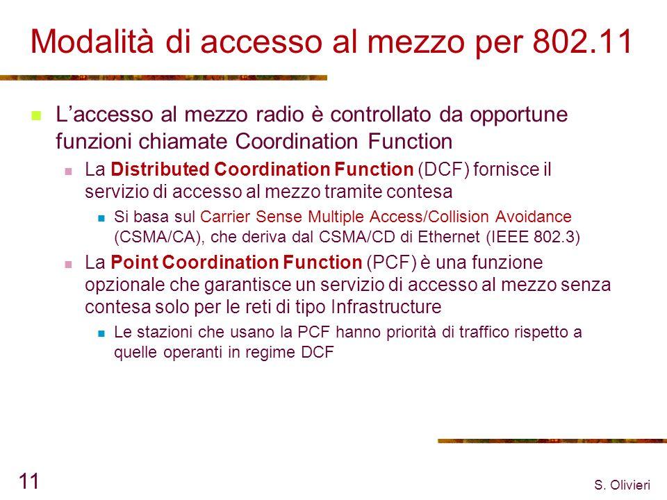 S. Olivieri 11 Modalità di accesso al mezzo per 802.11 Laccesso al mezzo radio è controllato da opportune funzioni chiamate Coordination Function La D
