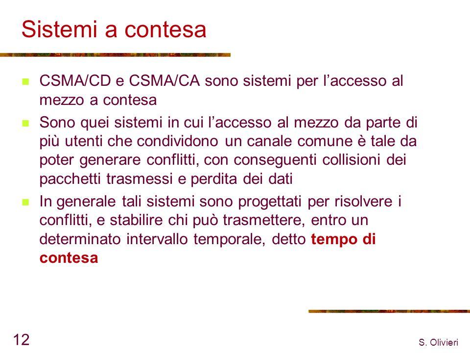 S. Olivieri 12 Sistemi a contesa CSMA/CD e CSMA/CA sono sistemi per laccesso al mezzo a contesa Sono quei sistemi in cui laccesso al mezzo da parte di