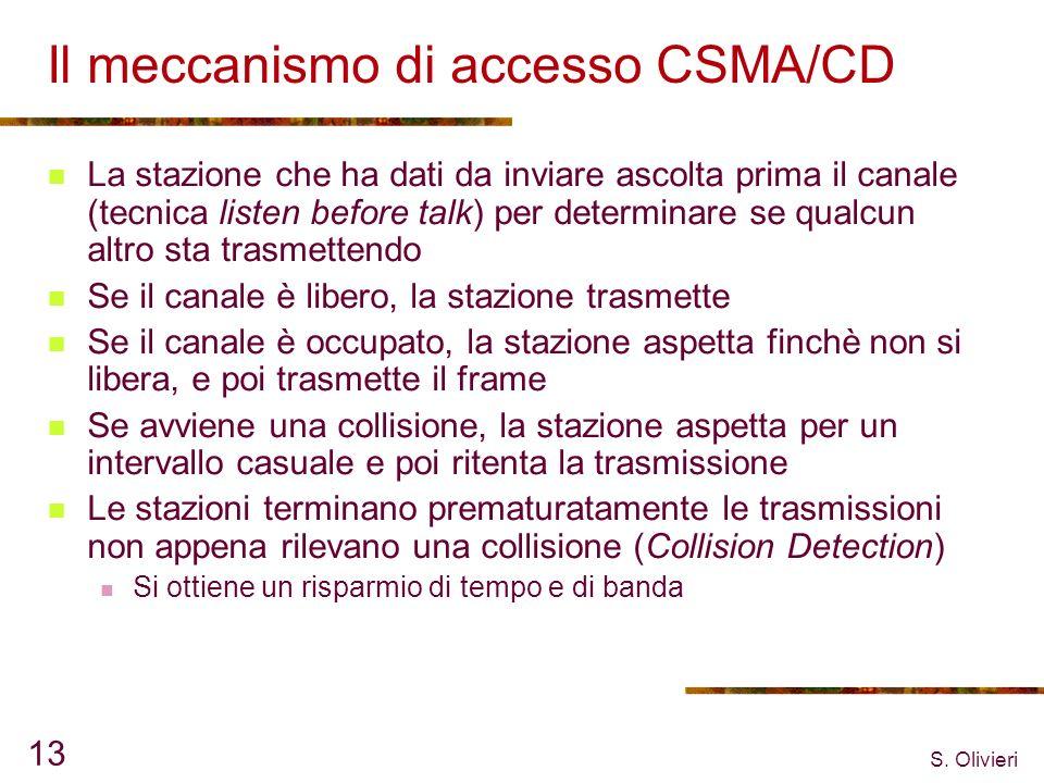 S. Olivieri 13 Il meccanismo di accesso CSMA/CD La stazione che ha dati da inviare ascolta prima il canale (tecnica listen before talk) per determinar