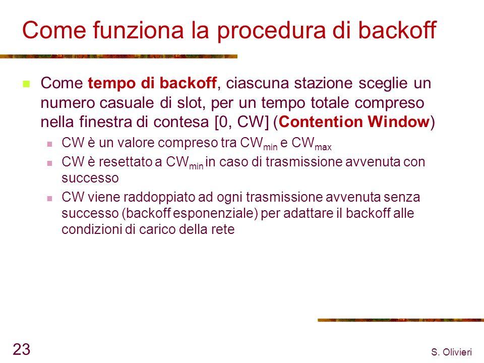 S. Olivieri 23 Come funziona la procedura di backoff Come tempo di backoff, ciascuna stazione sceglie un numero casuale di slot, per un tempo totale c