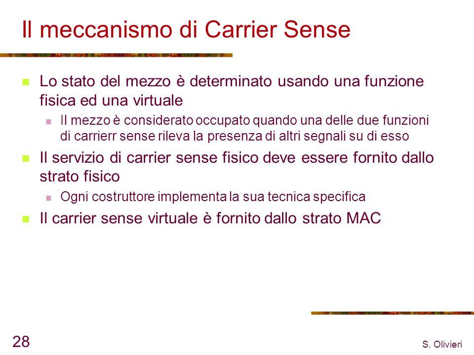 S. Olivieri 28 Il meccanismo di Carrier Sense Lo stato del mezzo è determinato usando una funzione fisica ed una virtuale Il mezzo è considerato occup
