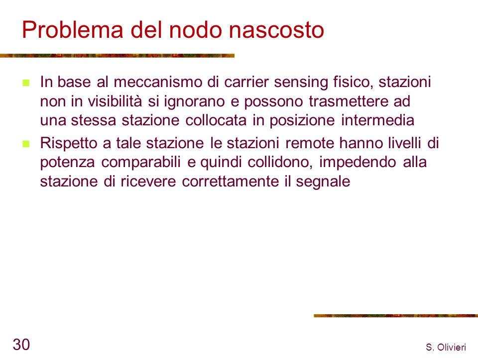S. Olivieri 30 Problema del nodo nascosto In base al meccanismo di carrier sensing fisico, stazioni non in visibilità si ignorano e possono trasmetter