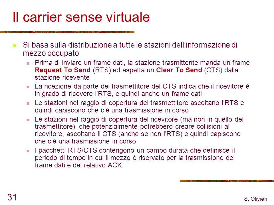 S. Olivieri 31 Il carrier sense virtuale Si basa sulla distribuzione a tutte le stazioni dellinformazione di mezzo occupato Prima di inviare un frame