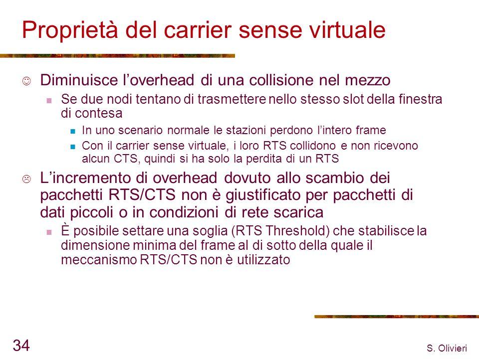 S. Olivieri 34 Proprietà del carrier sense virtuale Diminuisce loverhead di una collisione nel mezzo Se due nodi tentano di trasmettere nello stesso s
