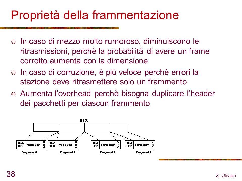 S. Olivieri 38 Proprietà della frammentazione In caso di mezzo molto rumoroso, diminuiscono le ritrasmissioni, perchè la probabilità di avere un frame