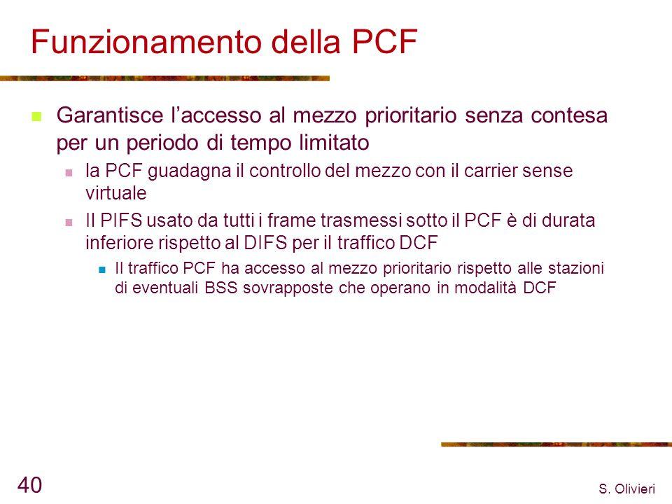 S. Olivieri 40 Funzionamento della PCF Garantisce laccesso al mezzo prioritario senza contesa per un periodo di tempo limitato la PCF guadagna il cont