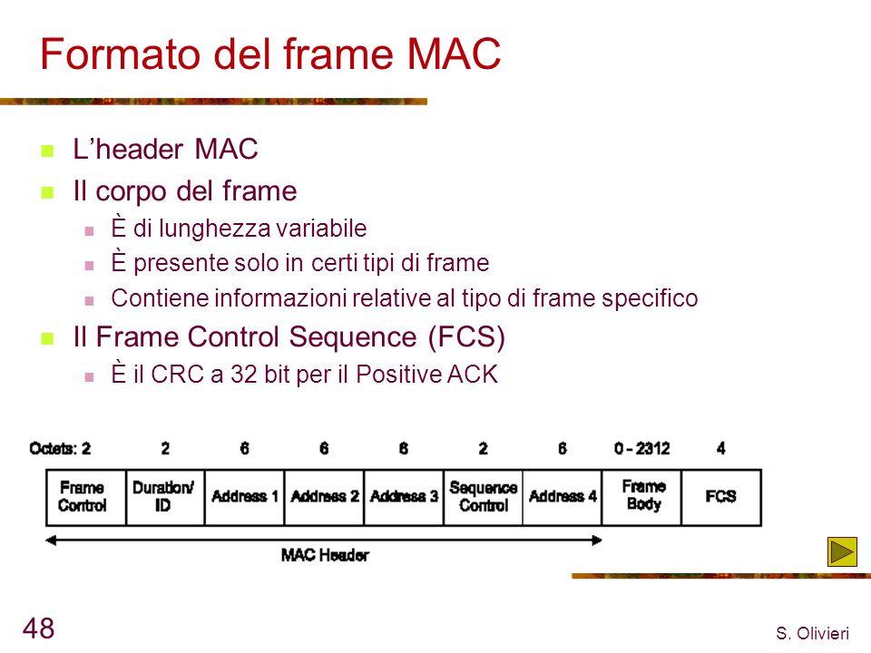 S. Olivieri 48 Formato del frame MAC Lheader MAC Il corpo del frame È di lunghezza variabile È presente solo in certi tipi di frame Contiene informazi