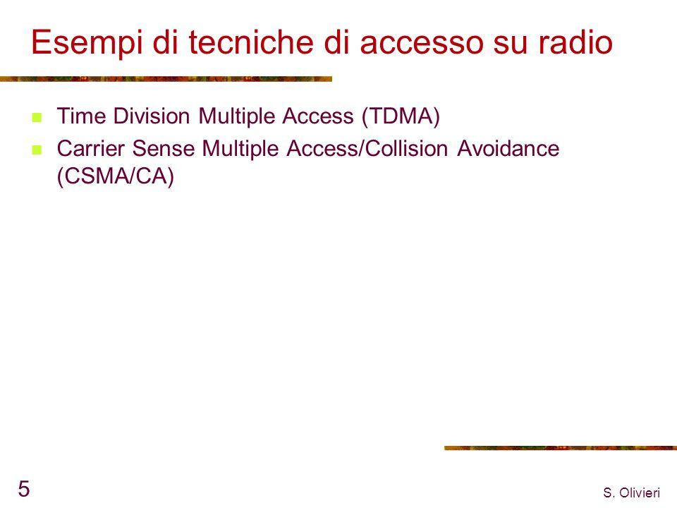 S. Olivieri 5 Esempi di tecniche di accesso su radio Time Division Multiple Access (TDMA) Carrier Sense Multiple Access/Collision Avoidance (CSMA/CA)
