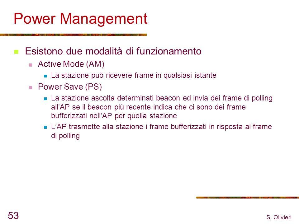 S. Olivieri 53 Power Management Esistono due modalità di funzionamento Active Mode (AM) La stazione può ricevere frame in qualsiasi istante Power Save
