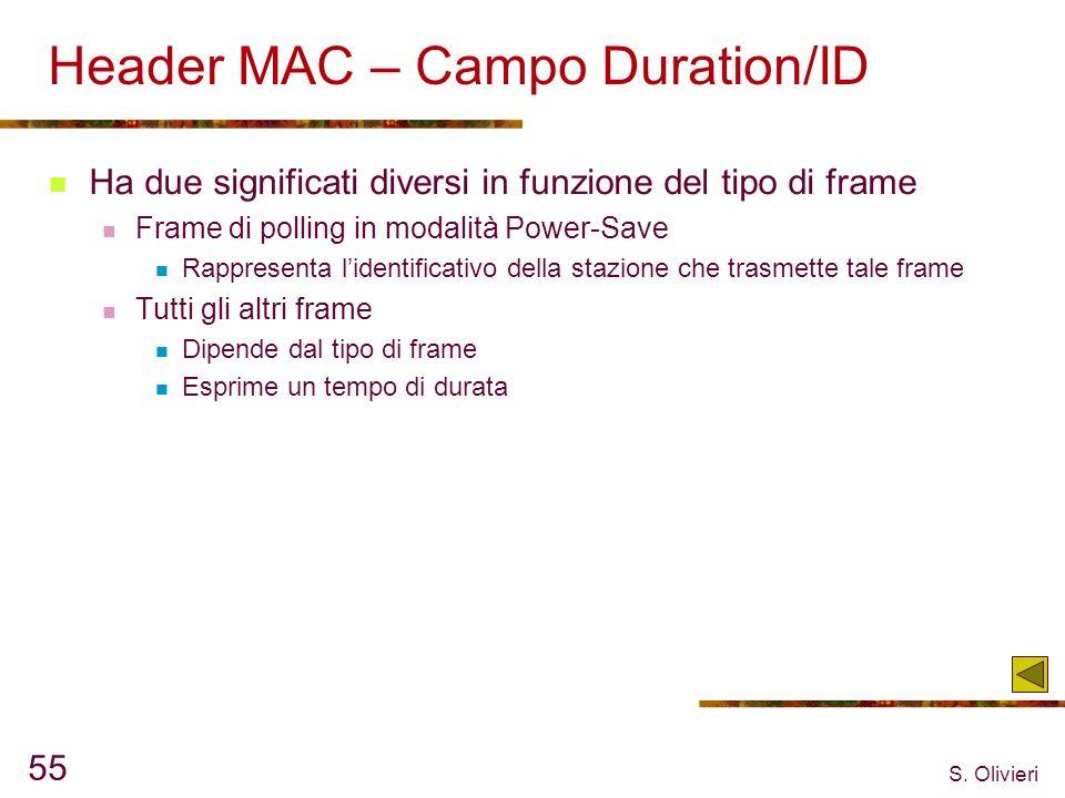 S. Olivieri 55 Header MAC – Campo Duration/ID Ha due significati diversi in funzione del tipo di frame Frame di polling in modalità Power-Save Rappres