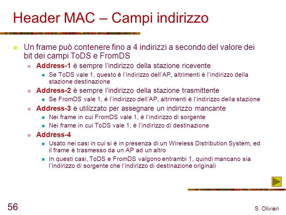 S. Olivieri 56 Header MAC – Campi indirizzo Un frame può contenere fino a 4 indirizzi a secondo del valore dei bit dei campi ToDS e FromDS Address-1 è