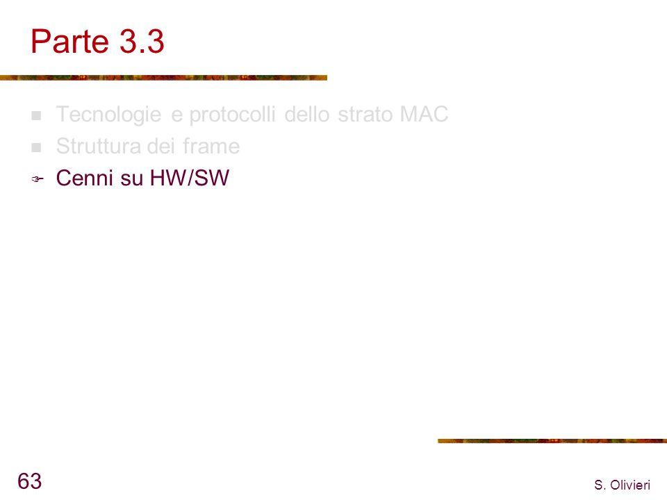 S. Olivieri 63 Parte 3.3 Tecnologie e protocolli dello strato MAC Struttura dei frame Cenni su HW/SW