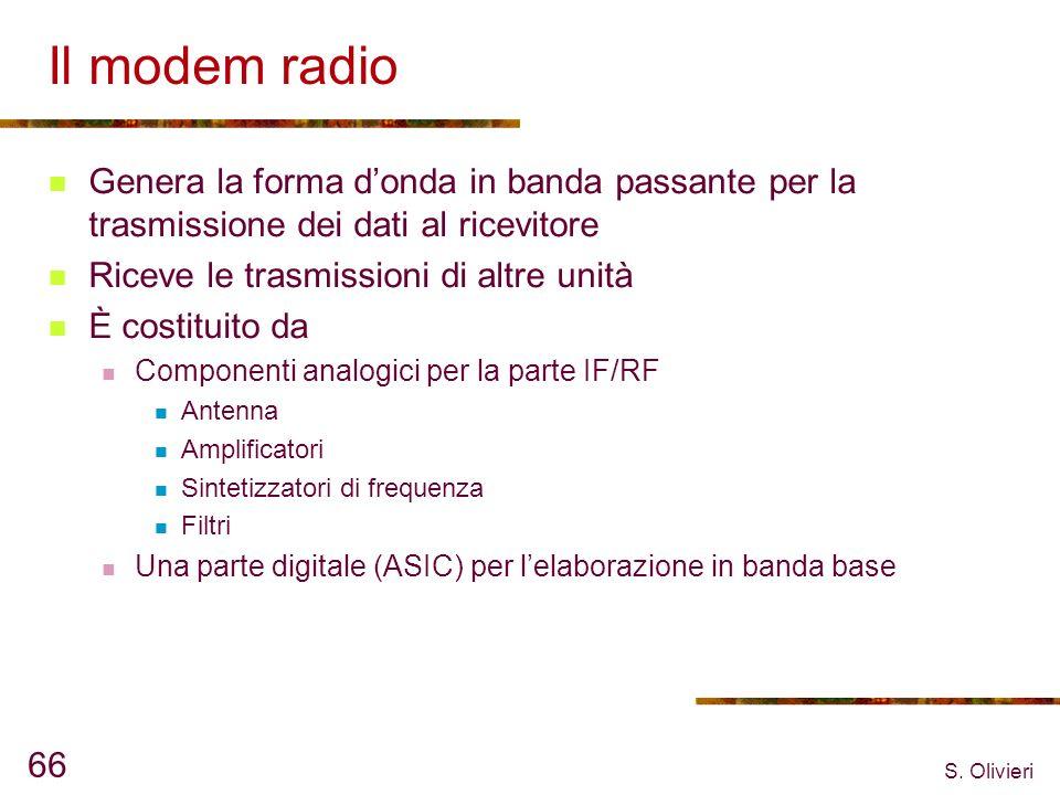 S. Olivieri 66 Il modem radio Genera la forma donda in banda passante per la trasmissione dei dati al ricevitore Riceve le trasmissioni di altre unità