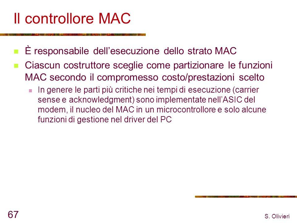 S. Olivieri 67 Il controllore MAC È responsabile dellesecuzione dello strato MAC Ciascun costruttore sceglie come partizionare le funzioni MAC secondo