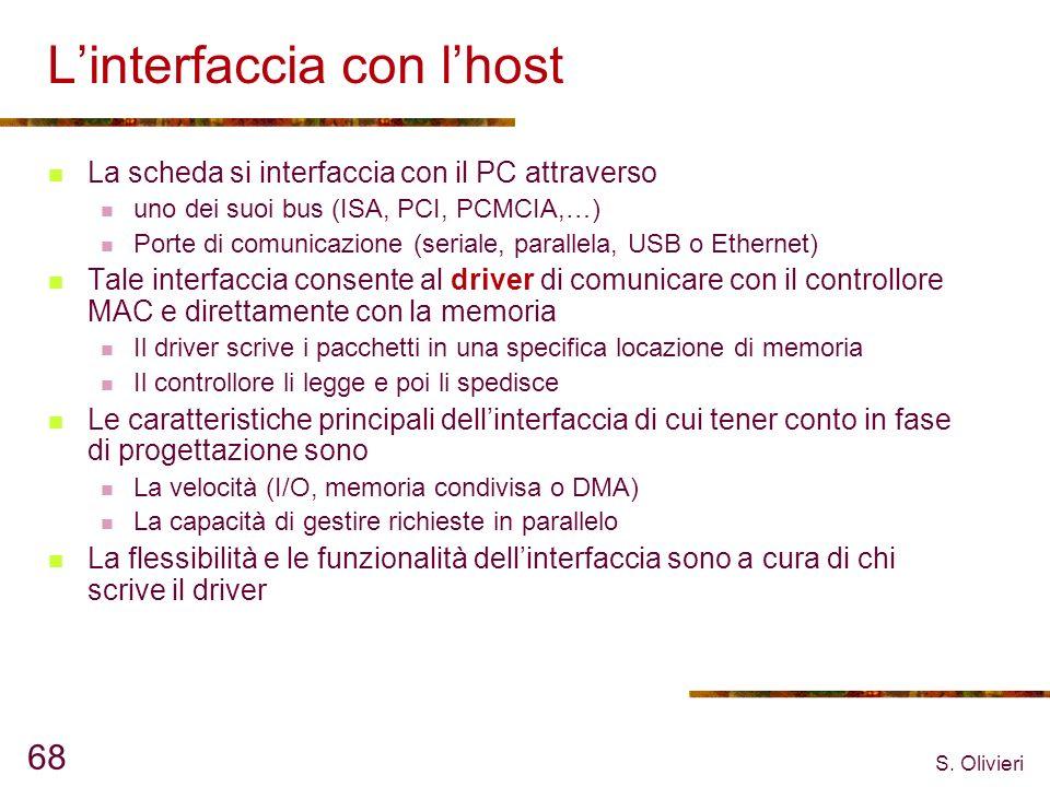 S. Olivieri 68 Linterfaccia con lhost La scheda si interfaccia con il PC attraverso uno dei suoi bus (ISA, PCI, PCMCIA,…) Porte di comunicazione (seri