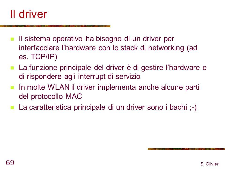S. Olivieri 69 Il driver Il sistema operativo ha bisogno di un driver per interfacciare lhardware con lo stack di networking (ad es. TCP/IP) La funzio