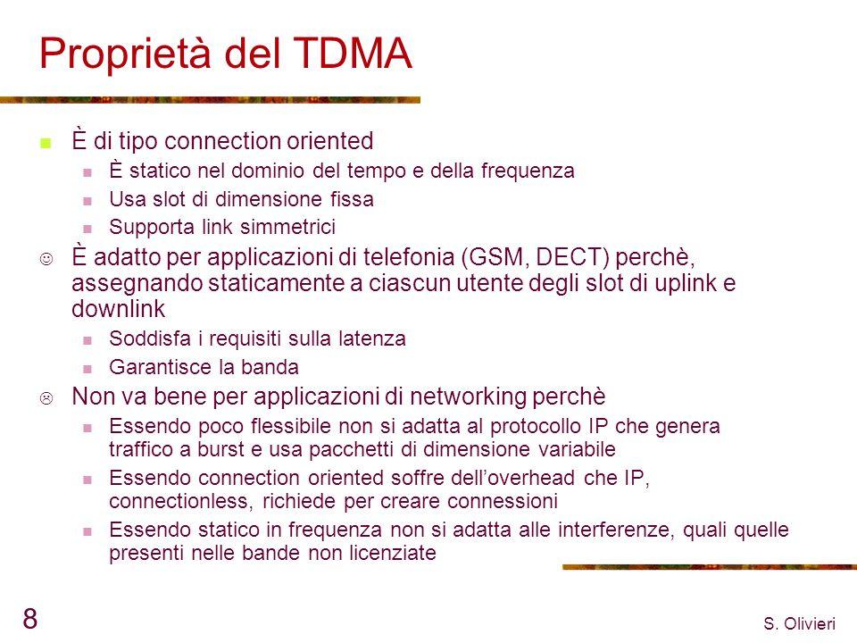 S. Olivieri 8 Proprietà del TDMA È di tipo connection oriented È statico nel dominio del tempo e della frequenza Usa slot di dimensione fissa Supporta