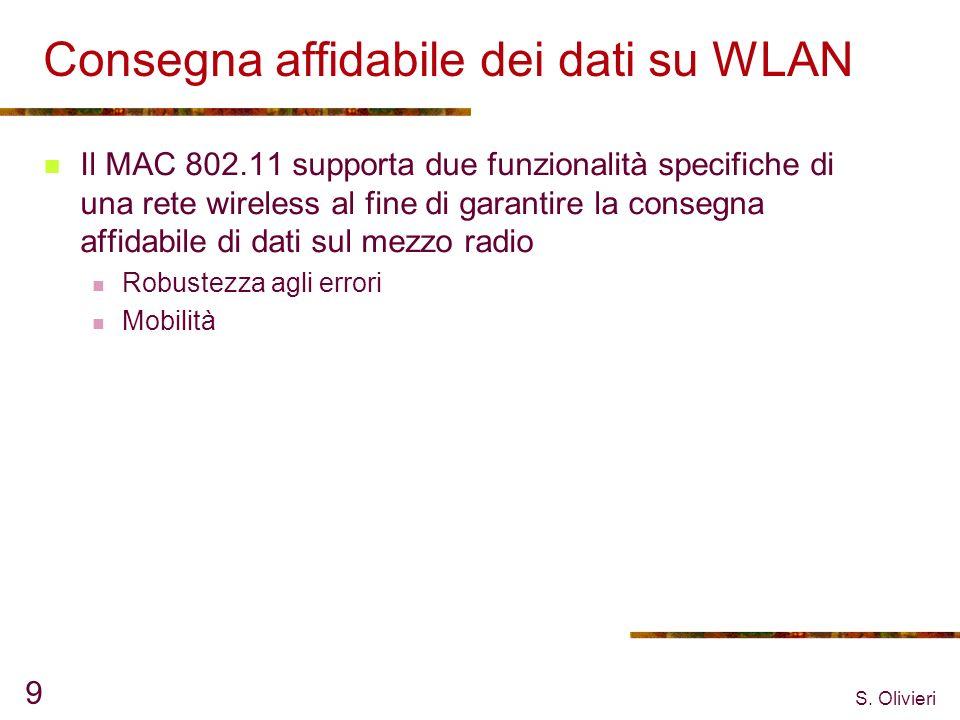 S. Olivieri 9 Consegna affidabile dei dati su WLAN Il MAC 802.11 supporta due funzionalità specifiche di una rete wireless al fine di garantire la con