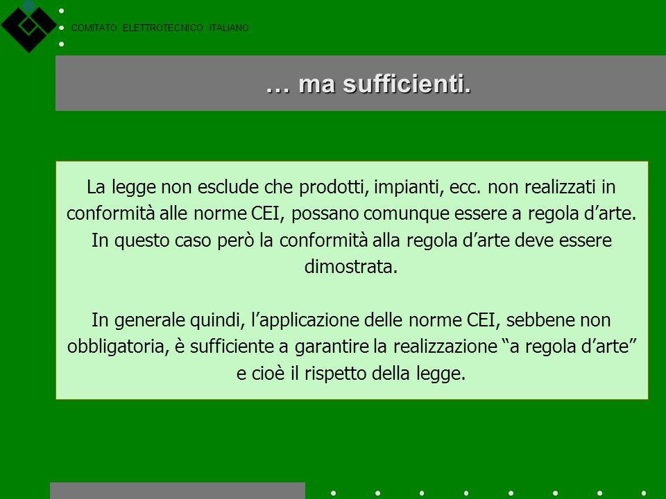 COMITATO ELETTROTECNICO ITALIANO Norme tecniche: non obbligatorie... Secondo la Legge 186 del 1968 si ha quindi che è obbligatorio effettuare realizza