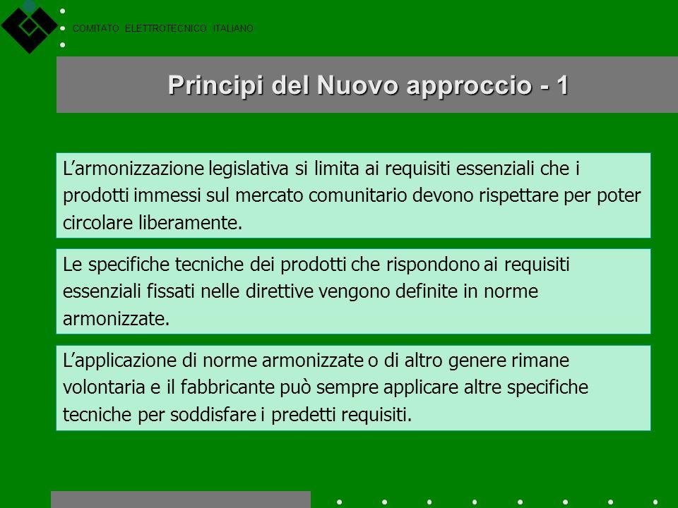 COMITATO ELETTROTECNICO ITALIANO Nuovo approccio a livello europeo ha introdotto un Nuovo Approccio allarmonizzazione tecnica, cioè alleliminazione de
