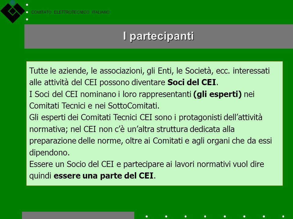 COMITATO ELETTROTECNICO ITALIANO Le attività normative del CEI vengono svolte nellambito dei circa 80 Comitati Tecnici (CT) fra i quali sono suddivisi