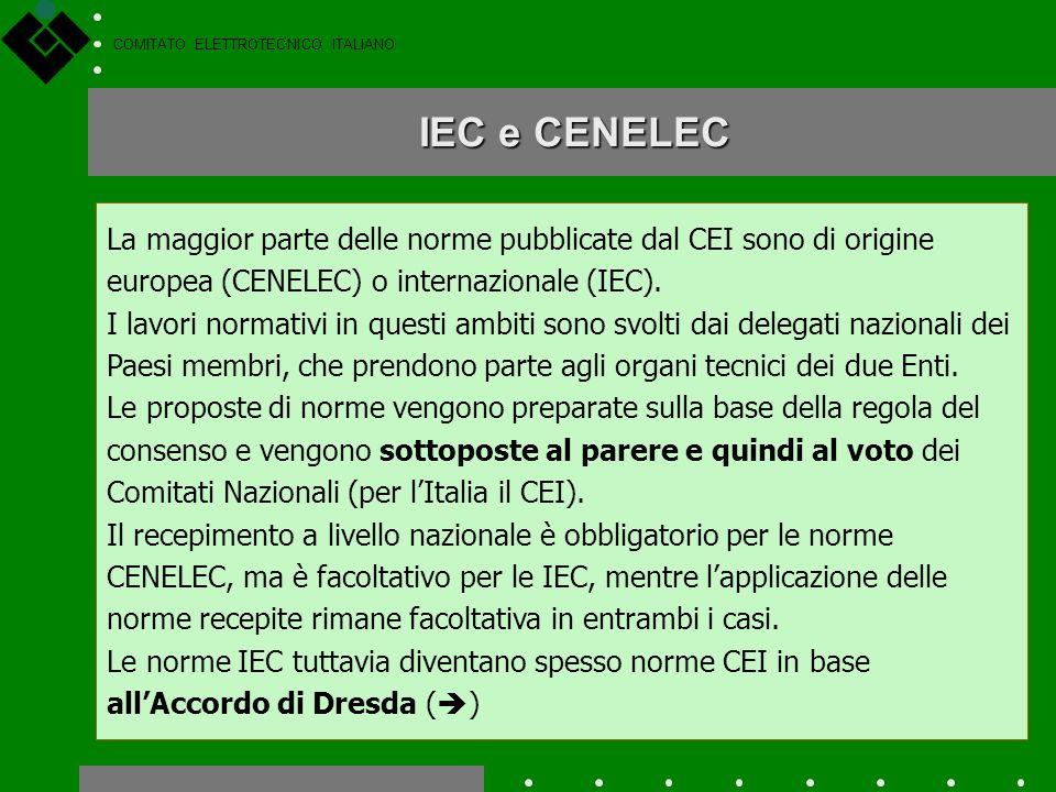 COMITATO ELETTROTECNICO ITALIANO Il livello internazionale ed europeo