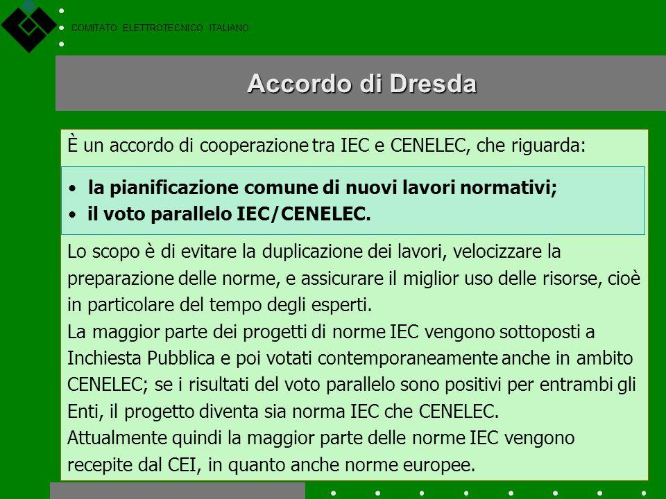 COMITATO ELETTROTECNICO ITALIANO IEC e CENELEC La maggior parte delle norme pubblicate dal CEI sono di origine europea (CENELEC) o internazionale (IEC