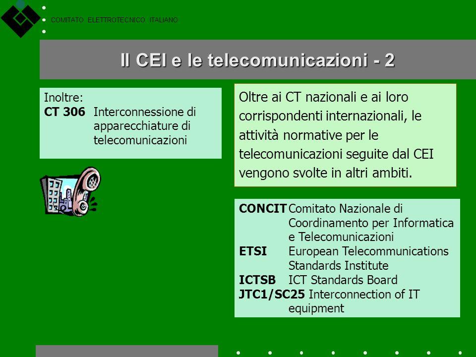 COMITATO ELETTROTECNICO ITALIANO Le attività del CEI per le telecomunicazioni sono molte, e sono svolte principalmente nei Comitati Tecnici del settor