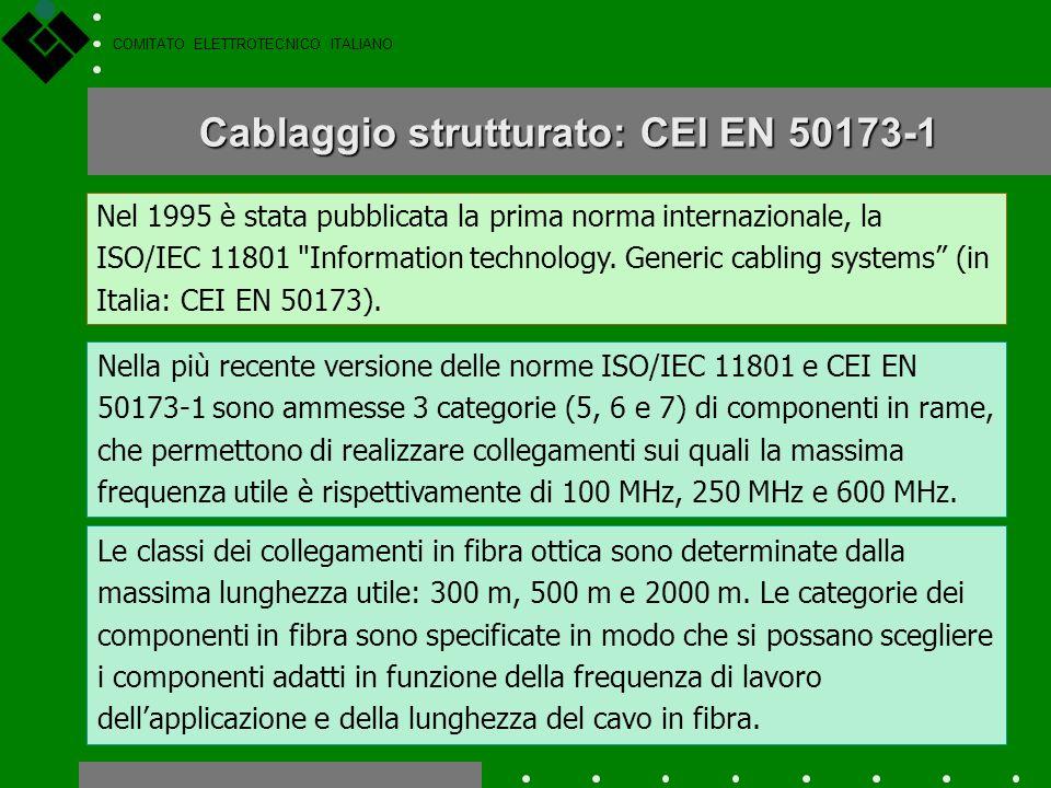 COMITATO ELETTROTECNICO ITALIANO Progettazione delledificio EN 50310 Cablaggio strutturato: il CT 306 Il Comitato 306 è responsabile delle norme e del
