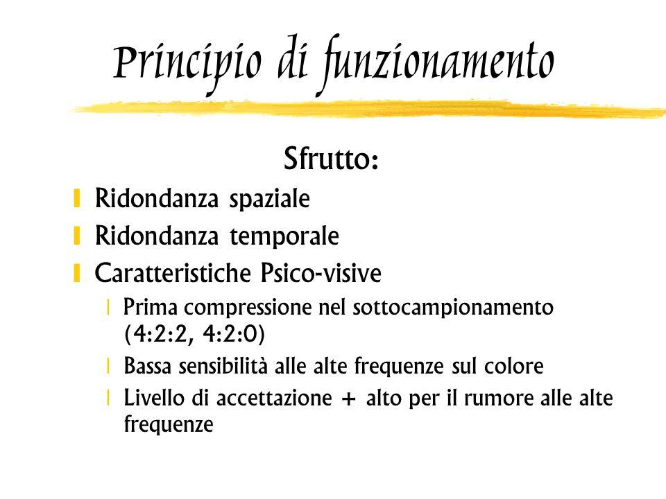 Principio di funzionamento Sfrutto: Ridondanza spaziale Ridondanza temporale Caratteristiche Psico-visive Prima compressione nel sottocampionamento (4