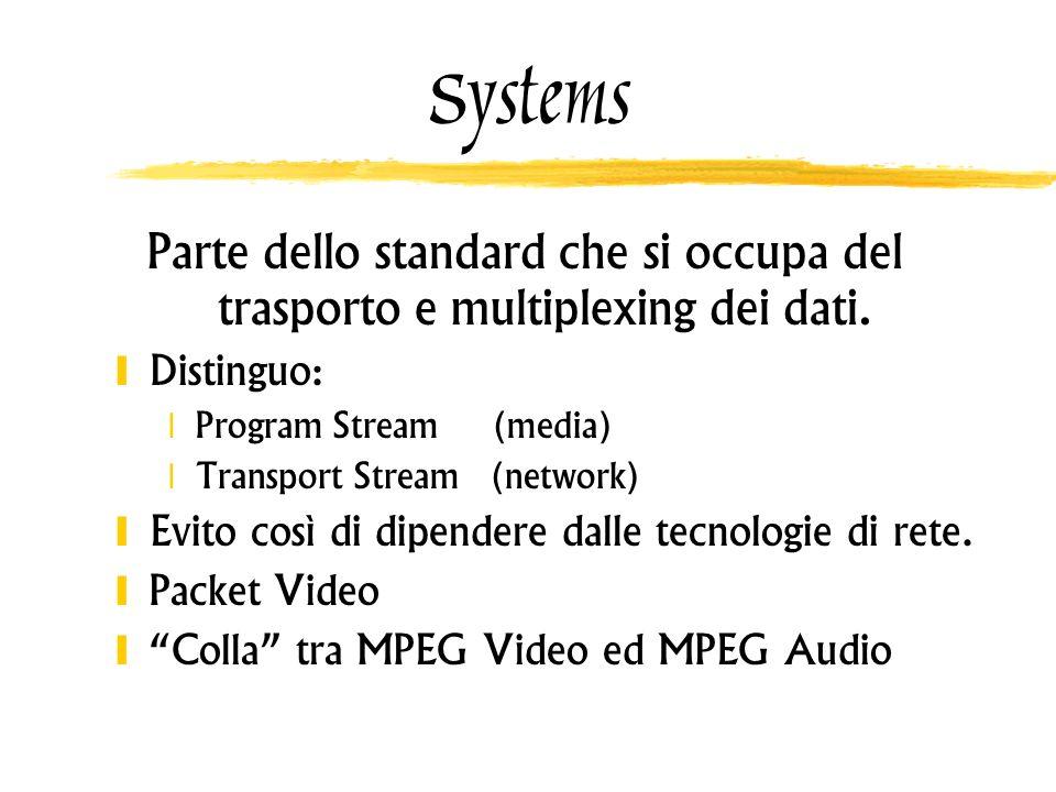 Systems Parte dello standard che si occupa del trasporto e multiplexing dei dati. Distinguo: Program Stream (media) Transport Stream (network) Evito c