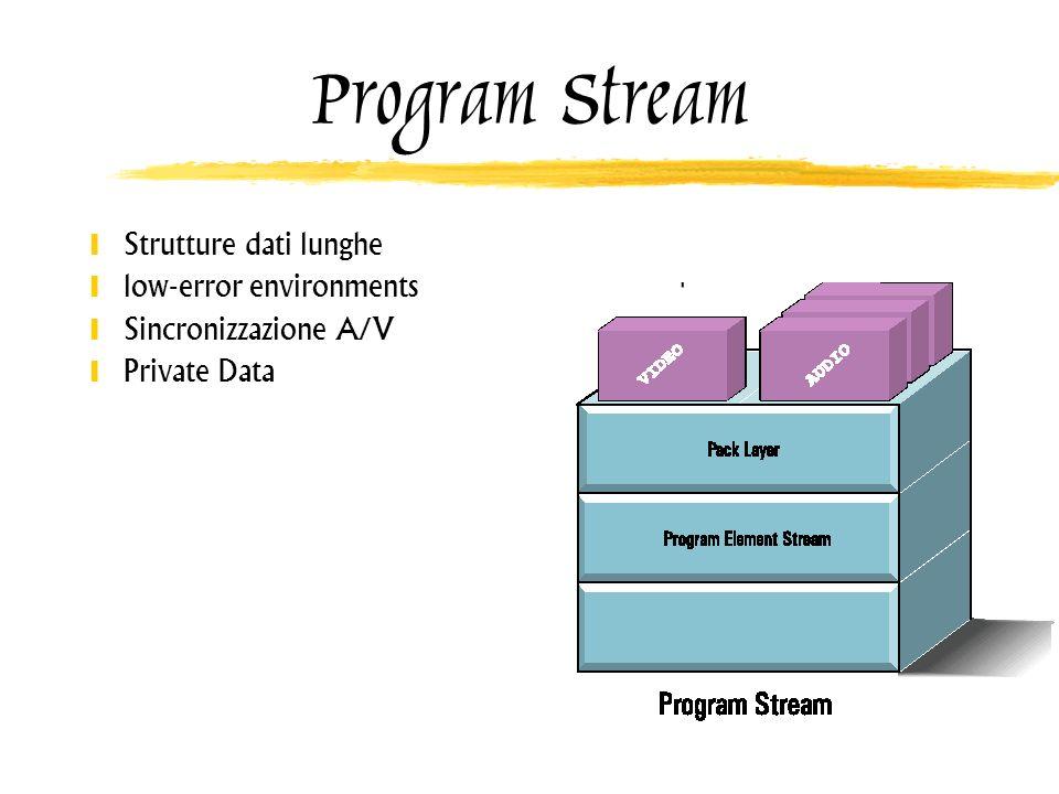 Program Stream Strutture dati lunghe low-error environments Sincronizzazione A/V Private Data