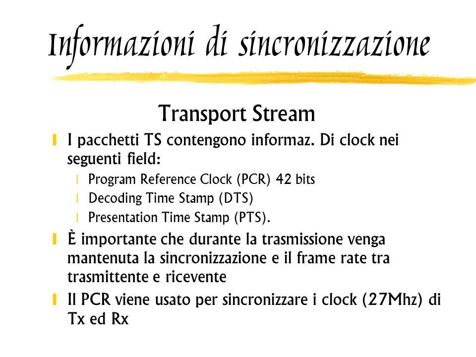 Informazioni di sincronizzazione Transport Stream I pacchetti TS contengono informaz. Di clock nei seguenti field: Program Reference Clock (PCR) 42 bi