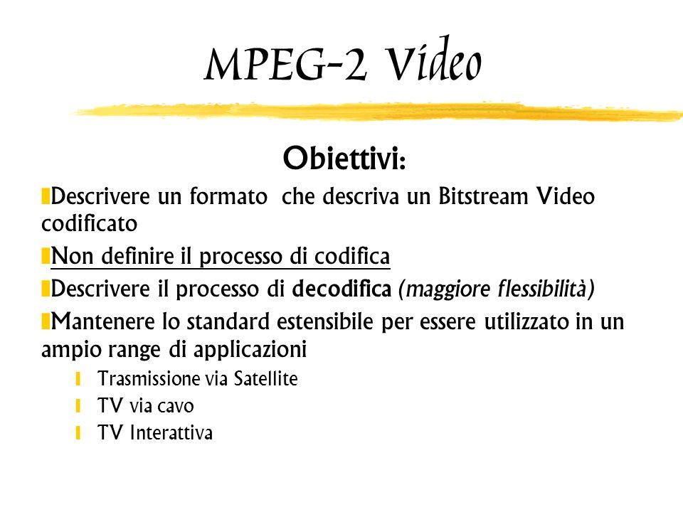 MPEG-2 Video Obiettivi : Descrivere un formato che descriva un Bitstream Video codificato Non definire il processo di codifica Descrivere il processo