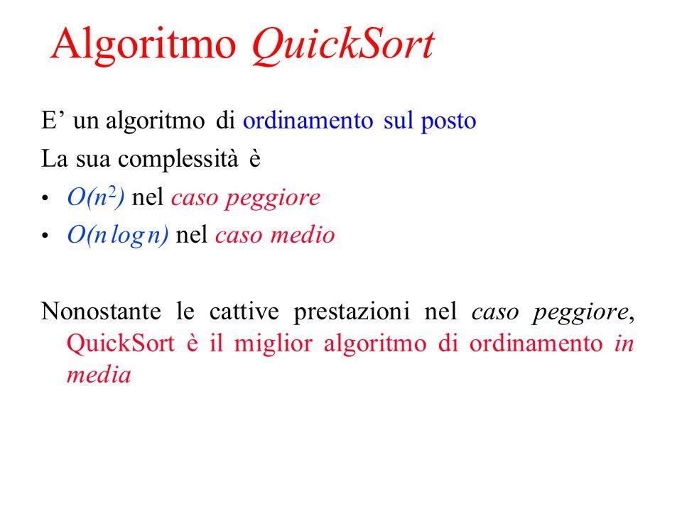 Algoritmo QuickSort E un algoritmo di ordinamento sul posto La sua complessità è O(n 2 ) nel caso peggiore O(n log n) nel caso medio Nonostante le cattive prestazioni nel caso peggiore, QuickSort è il miglior algoritmo di ordinamento in media