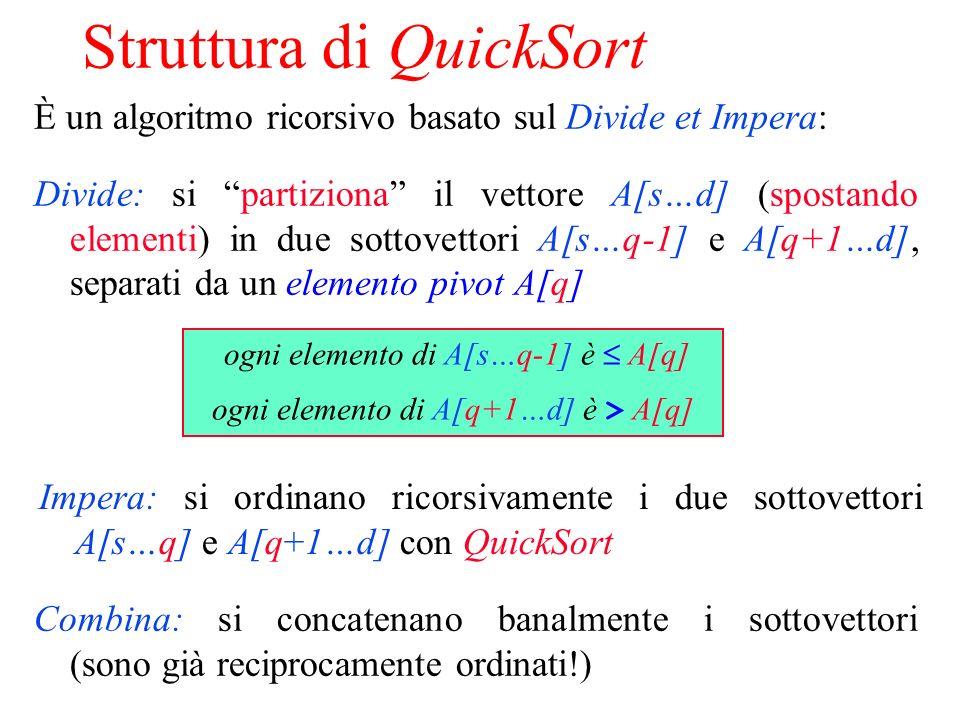 Struttura di QuickSort È un algoritmo ricorsivo basato sul Divide et Impera: Divide: si partiziona il vettore A[s…d] (spostando elementi) in due sottovettori A[s…q-1] e A[q+1…d], separati da un elemento pivot A[q] Impera: si ordinano ricorsivamente i due sottovettori A[s…q] e A[q+1…d] con QuickSort Combina: si concatenano banalmente i sottovettori (sono già reciprocamente ordinati!) ogni elemento di A[s…q-1] è A[q] ogni elemento di A[q+1…d] è > A[q]