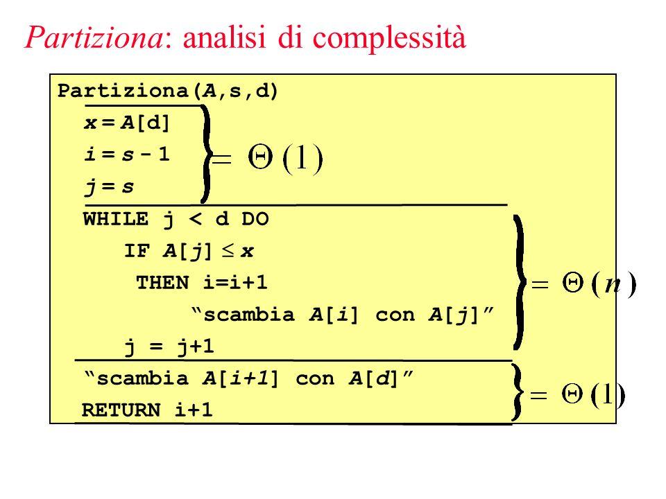 Partiziona(A,s,d) x = A[d] i = s - 1 j = s WHILE j < d DO IF A[j] x THEN i=i+1 scambia A[i] con A[j] j = j+1 scambia A[i+1] con A[d] RETURN i+1 Partiziona: analisi di complessità