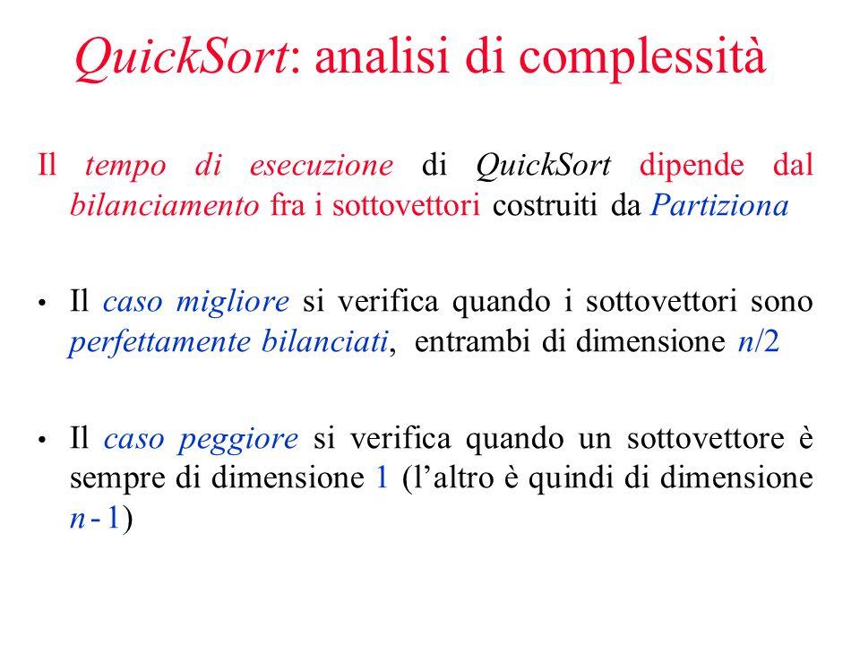 QuickSort: analisi di complessità Il tempo di esecuzione di QuickSort dipende dal bilanciamento fra i sottovettori costruiti da Partiziona Il caso migliore si verifica quando i sottovettori sono perfettamente bilanciati, entrambi di dimensione n/2 Il caso peggiore si verifica quando un sottovettore è sempre di dimensione 1 (laltro è quindi di dimensione n - 1)